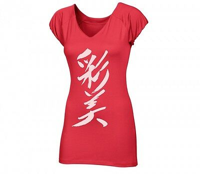 New Asics Women AY S/S Kanji Tee Fitness Top Red Size Large 320821 T-Shirt