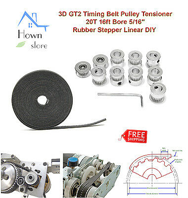 """3D GT2 Timing Belt Pulley Tension 20T 16ft Bore 5/16"""" Rubber Stepper Linear DIY"""
