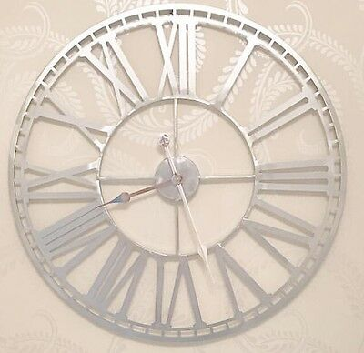 Extra Large 80cm Silver Metal Roman Numeral Wall Clock Shabby Chic Skeleton