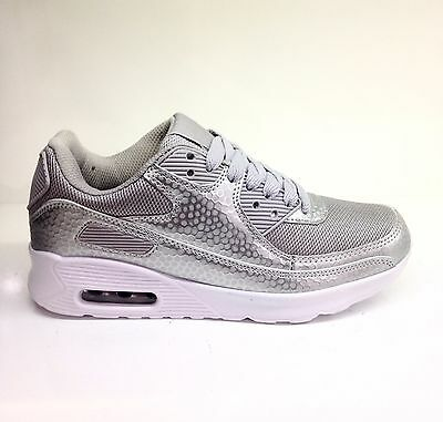 Ladies Womens New Comfortable Running Walking Gym Silver Air Bag Trainers Size 3
