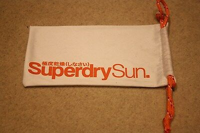 New Genuine Superdry Sunglasses Glasses Pouch Bag Lens Cloth, white orange