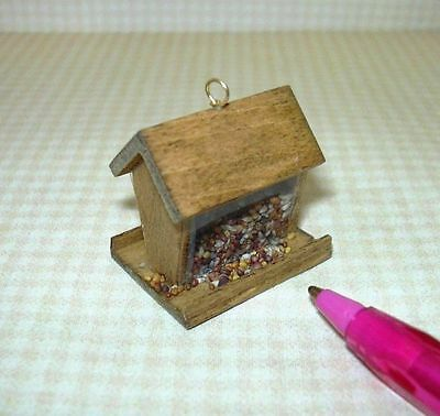 Miniature Wooden Bird Feeder Filled with Seed: DOLLHOUSE Miniatures 1:12 Scale