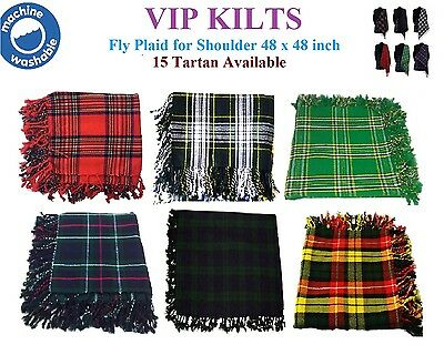"Kilt Fly Plaid/bagpipes for Shoulder in Various Tartans 48"" X 48"" Acrylic Wool"