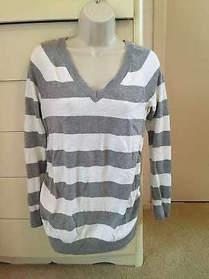 Old Navy Maternity Grey And White Striped Sweater Small