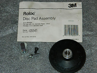 "(1) Brand New 3M 05541 Roloc 4"" Disc Pad Assembly Includes 1/4"" Diameter Shaft"