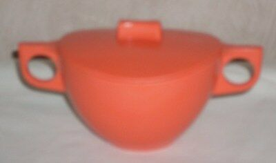 Collectable Vintage Melmac Sugar Bowl with Lid Tangerine Coloured EUC