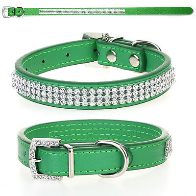 Green Rhinestone Diamante Crystal Bling PU Leather Puppy Dog Cat Pet Collar Tags