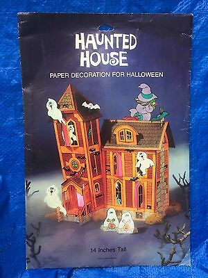 Vintage 1983 American Greeting Die Cut Haunted House Paper Table Decoration VG