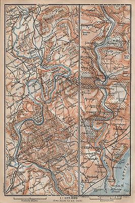 1910 Baedeker Antique Map- Uk-River Wye, Ross,monmouth,chepstow