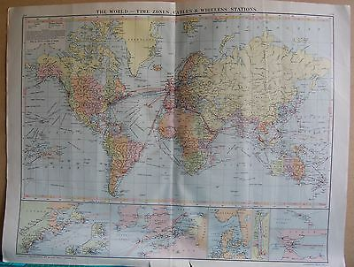 1919 Large Map- The World, Time Zones, Cables And Wireless Stations