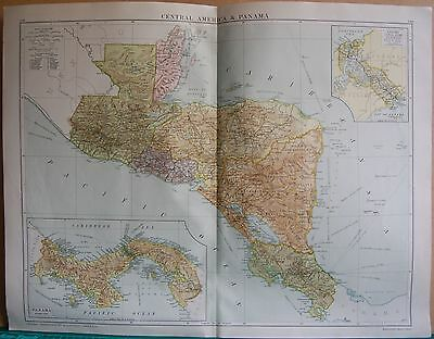 1919 Large Map- Central America & Panama, Inset Of Canal Zone