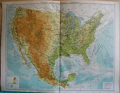 1919 Large Map- United States And Mexico, Physical
