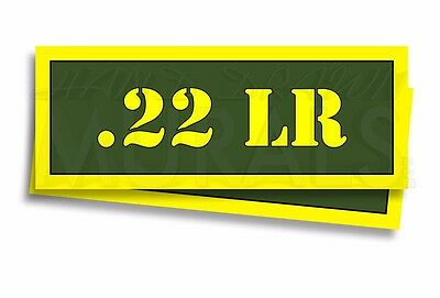 """.22 LR Ammo Can Labels for Ammunition Case 3"""" x 1"""" stickers decals 2 PACK -AG"""