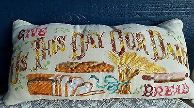 Antique Linen Flax cross stitch embroidered Give us this day our daily bread