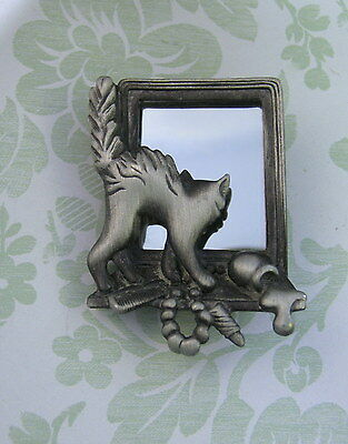 Vintage Pewter Cat in Mirror Pin Brooch-Signed CAJC-Cat Lovers-Vintage Brooch