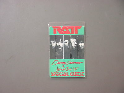 RATT backstage pass Laminated Authentic Dancing Undercover '87 Special Guest !