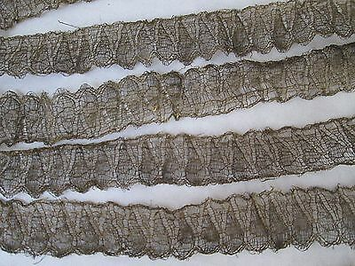 """ANTIQUE FRENCH METALLIC LACE TRIM... 79"""" x 1""""..Antique Doll Clothing"""