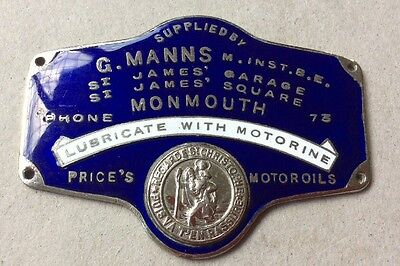 Rare Enamel Suppliers Dashboard Plaque Monmouth Motorine, Prices Motor Oils