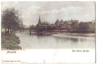 Morpeth The Chain Bridge River Wansbeck OLD POSTCARD 1903