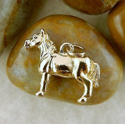 22k gold plated 3D Horse charm, Equine