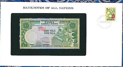 Banknotes of All Nations Western Samoa P19 1 Tala 1980 UNC Low# A008966