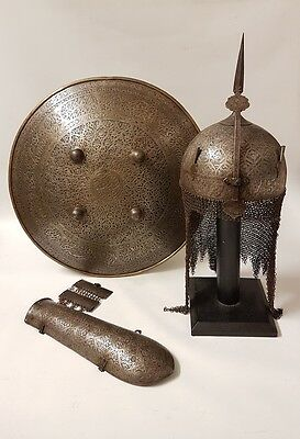 Antique Persian Qajar Islamic Hand Chiseled Steel Armour Set Gold +Silver Inlaid