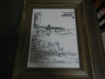 Vic Gillispie Signed and Numbered BOY SCOUT Print Art Picture Deer Canoeing