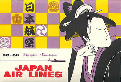 Pacific Courier ~JAPAN AIRLINES~ Gorgeous Old GEISHA Luggage Label, c. 1955