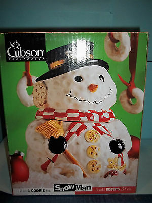 """Gibson 10"""" CHRISTMAS SNOWMAN COOKIE JAR Jaunty Hat Cookie Buttons MINT in BOX"""