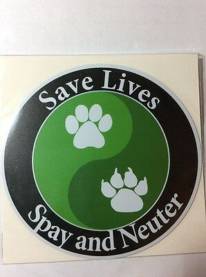 Save Lives Spay Neuter Dog Cat Paws Yin Yang Waterproof Car Truck Fridge Magnet