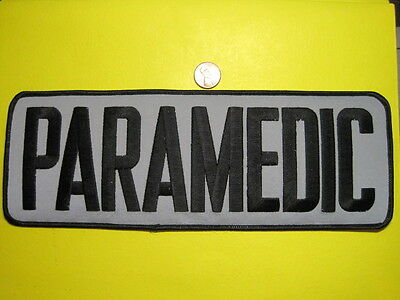 Paramedic Patch Reflective Gray W/ Black Letters Back Patch 4 X 11 Inch *