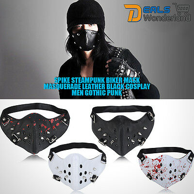 Spike Steampunk Biker Mask Mouth Face Cover Masquerade Leather Black Cosplay