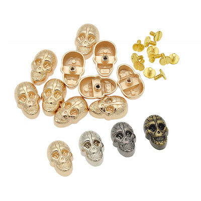 10 Pcs Gothic Skull Rivet Stud DIY Wallet Clothes Hat Leathercraft Tool Alloy