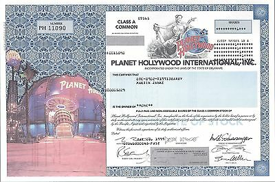 Planet Hollywood International 1999 Stock Certificate