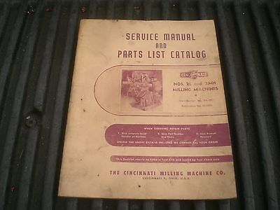 Cincinatti Service Manual and parts List catalog for 2L and 2MH milling machines