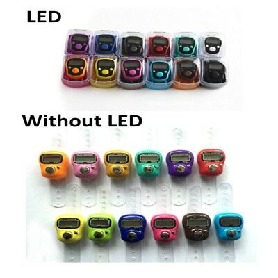 Mini LED Digit LCD Electronic Digital Golf Finger Hand Ring Tally Row Counter