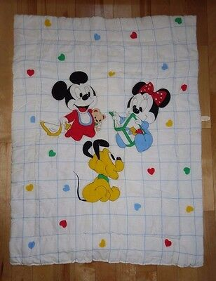 VTG 80's Disney Baby Mickey Mouse Minnie Pluto Crib Blanket Comforter Dundee USA