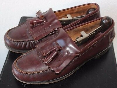 MEN'S SIZE 10 Vintage FLORSHEIM ALL Leather Oxblood Tassle LOAFERS MADE IN USA