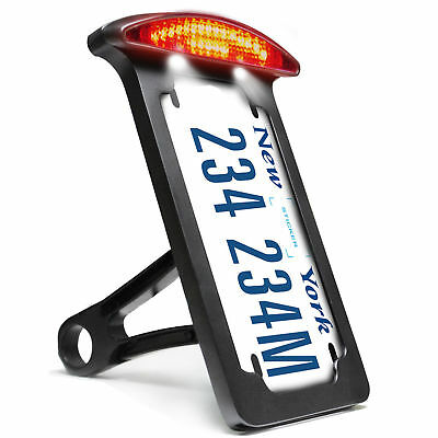 Black Number License Plate Bracket Holder Tail LED Light Harley Davidson Chopper
