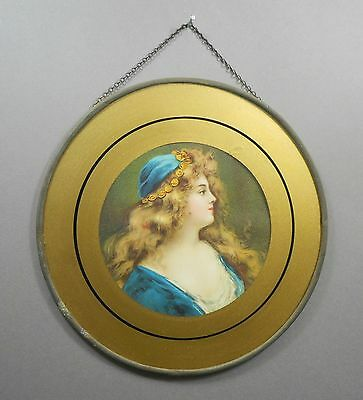 Antique Victorian Chimney Flue Cover Gold Glass Litho Print Gypsy Woman Girl