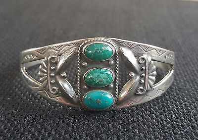 Early Navajo sterling Turquoise Tooled Cuff Bracelet