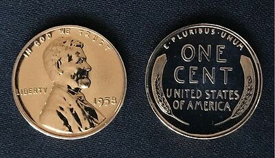1958 Lincoln Wheat Cent Penny // GEM PROOF // Beautiful Luster!