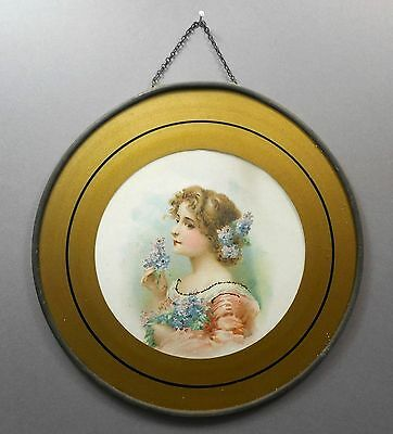 Antique Victorian Chimney Flue Cover Gold Glass Litho Print Portrait Woman Girl