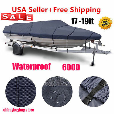 "600D 17-19 ft Heavy Duty Trailerable Waterproof Boat Cover V-Hull Beam 95"" Gray@"