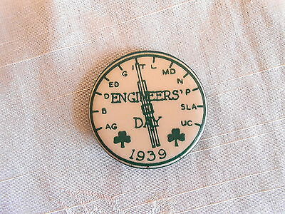 Vintage 1939 St Patrick's Day Engineers Day Pinback Button