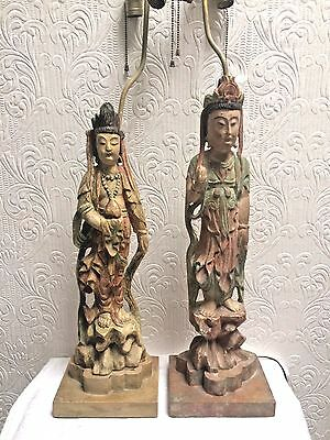 Outstanding Antique Chinese Pair Carved Wood Women Figural Lamps