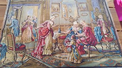 Vintage European Jacquard Woven Tapestry Victorian Palace Scene