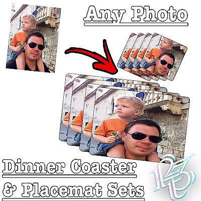 Personalised Dinner PLACEMAT & COASTER SET - ANY PHOTO or TEXT gift present