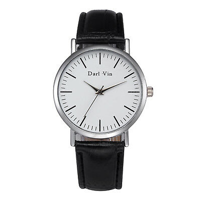 Luxury Men's Quartz Wrist Watches Leather Watch Strap Analog Slim Dial Casual