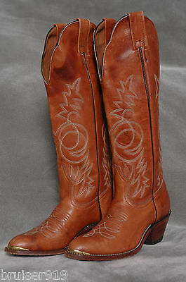 Vintage 80s TALL COWBOY BOOTS Riding Campus LEATHER Stacked Heel TOE CAPS Sz: 5